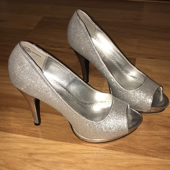 166895dc2fde Rampage Shoes | Sparkly Silver High Heels | Poshmark